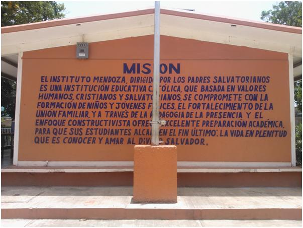 Misión salvatoriana en una de las paredes del Colegio